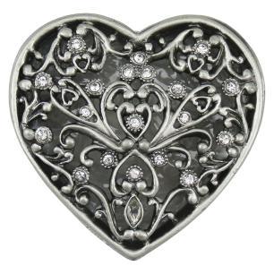 Porta Jóias Coração Metal Prata Home&Co Relique 3X7X7Cm