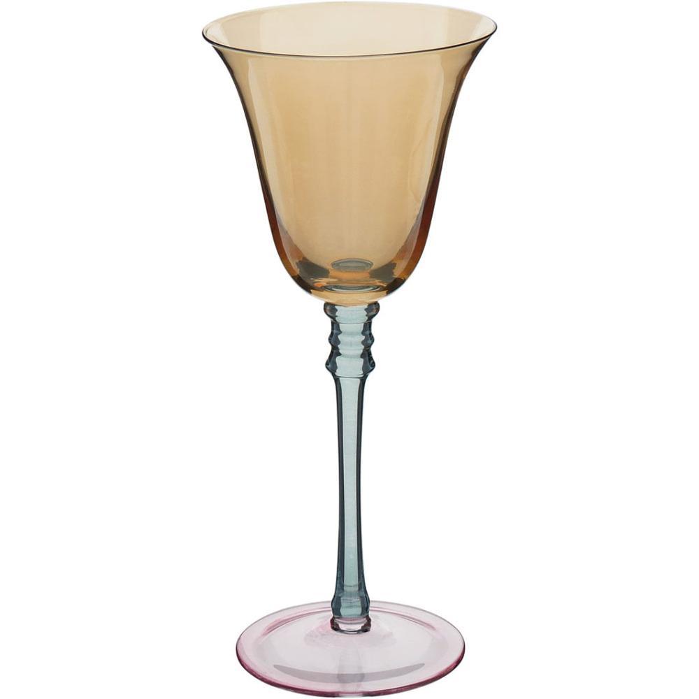 Taça Vinho Lustrada 6 peças Vidro Ambar 200Ml Quebec 21X9X9Cm