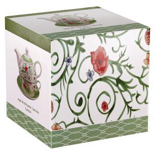 Jogo Chá Bonechina 3 peças Verde 370/250Ml Home&Co Delicata
