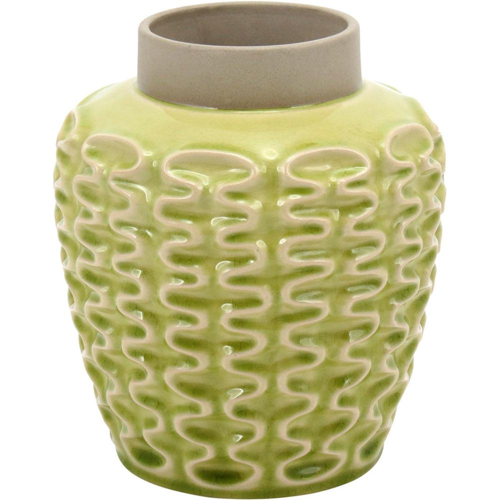Vaso 22X20X20Cm Cerâmica Amarelo Mangga
