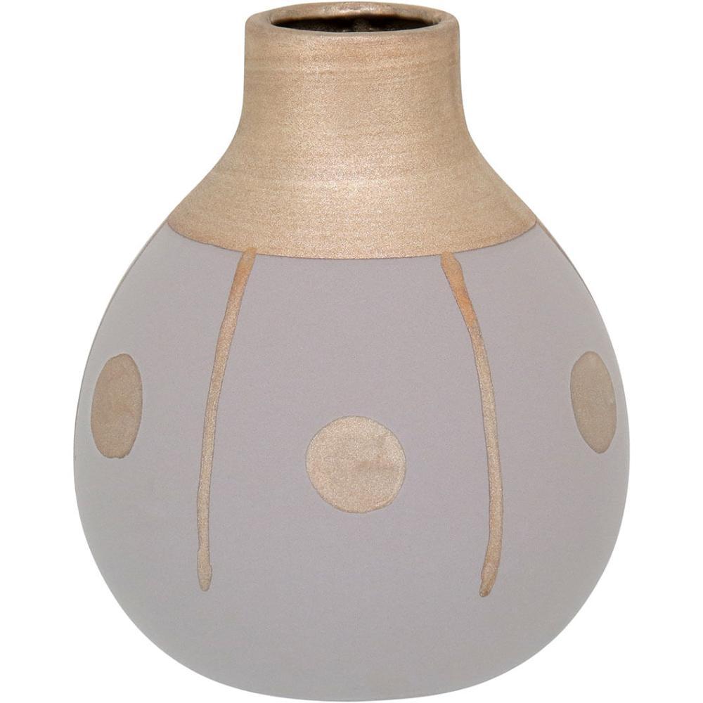 Vaso Cerâmica Cinza Tongass 18X15X15Cm