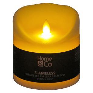 Vela Led Plástico Marfim Home&Co Flameless 10X10X10Cm