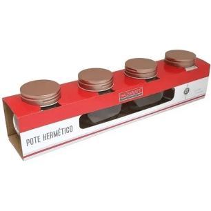 Conjunto de Potes Herméticos Hauskraft Golden Rose 190ml Vidro Redondo 4 Peças