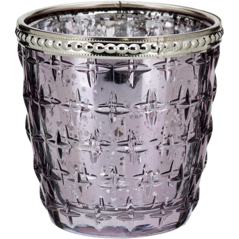 Castiçal Lustrado Vidro Lilás Temple 8X8X8Cm