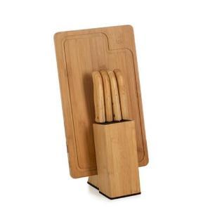 Conjunto de Facas para Cozinha Welf KT90163 Bambu e Inox 6 Peças com Cepo e Tábua Retangular