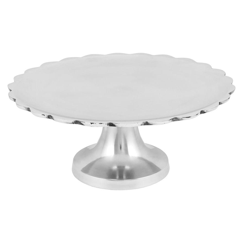 Prato Bolo Com Pé Alumínio Prata Home&Co Lalit 13X30X30Cm