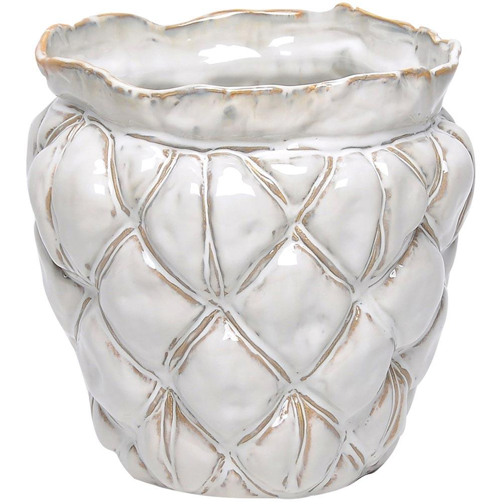 Vaso Cerâmica Marfim Home&Co Colby 27X27X27Cm