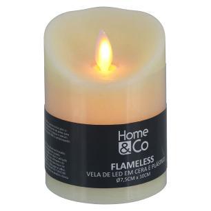Vela Led Plástico Marfim Home&Co Flameless 10X8X8Cm