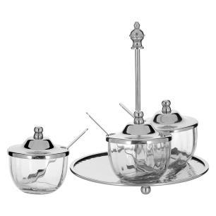 Porta Condimento 4 peças Vidro Transparente Home&Co Ghalyela 17X16X16Cm