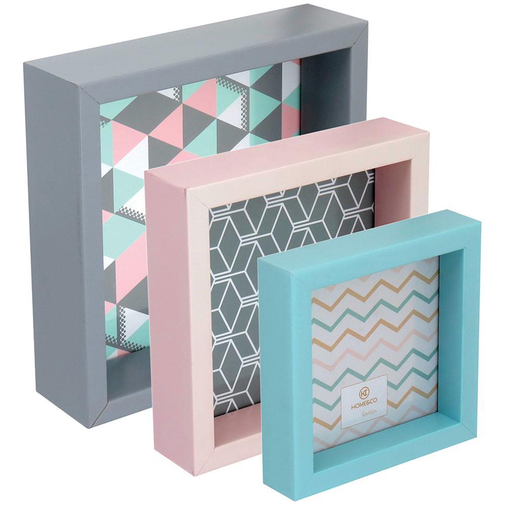 Porta-Retratos Color 3 peças Plástico Home&Co Virchow