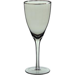 Taça Vinho Filetado 6 peças Vidro Cinza 330Ml Zouk 22X8X8Cm
