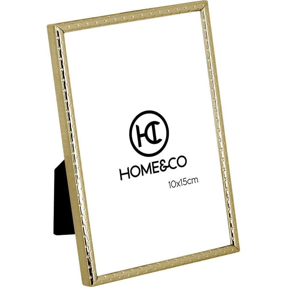 Porta-Retratos Metal Dourado 10X15 Home&Co Homz 16X11X1Cm