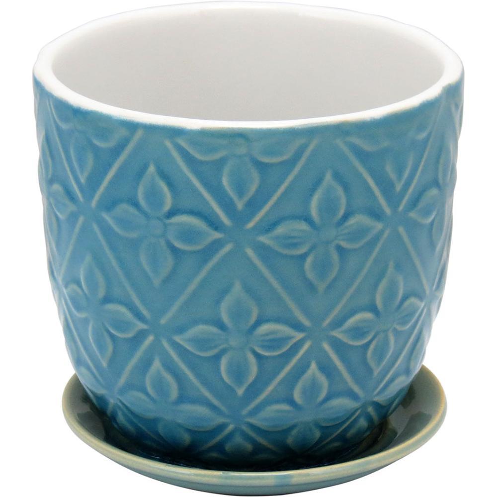 Cachepô Com Prato Cerâmica Azul Florian 15X15X15Cm