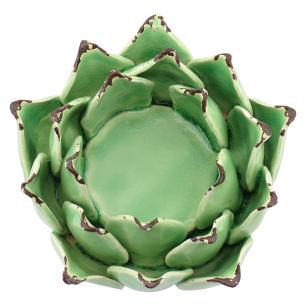 Castiçal Alcachofra Cerâmica Verde Crispin 7X11X11Cm