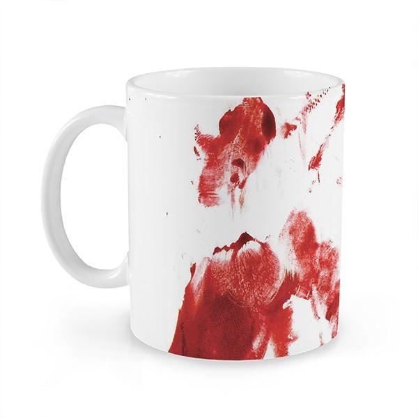 Caneca Sangue 320ml Branca com Estampa Cerâmica