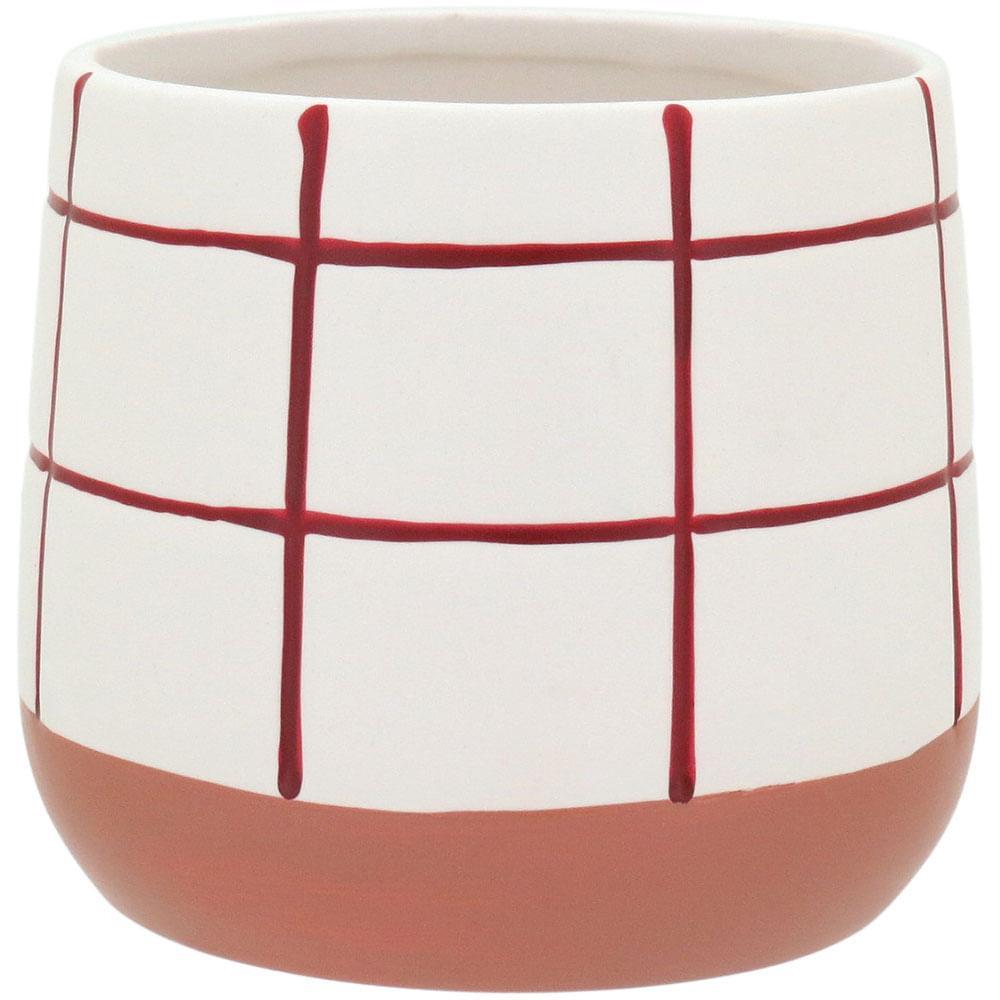 Cachepô 10X11X11Cm Cerâmica Vermelho Dorita