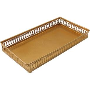 Bandeja 8X26X26Cm Metal Dourado Zaree