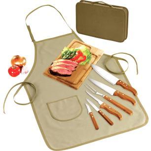 Kit para Churrasco Welf Quebec PB00813 Inox e Bambu 9 peças com Avental e Estojo com Zíper