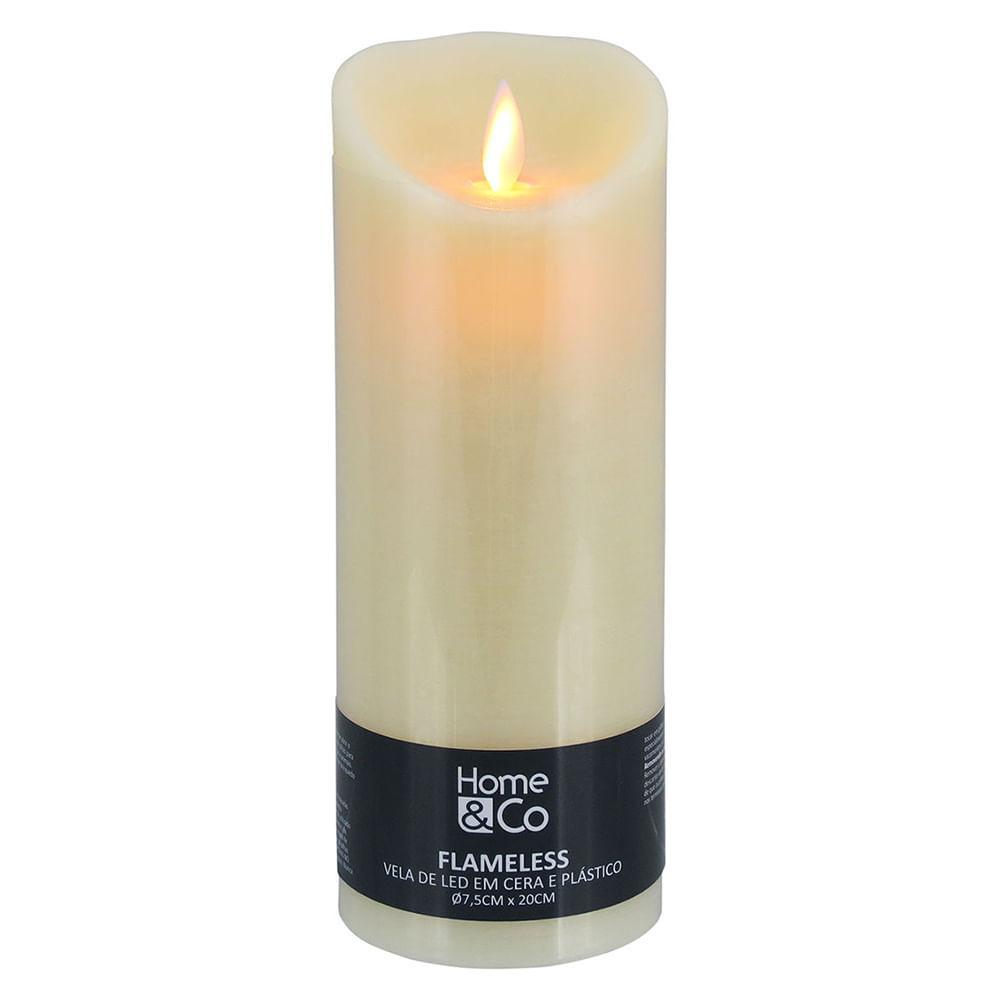 Vela Led Plástico Marfim Home&Co Flameless 20X8X8Cm
