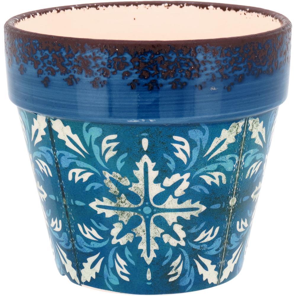 Cachepô Cerâmica Azul Carriche 15X17X17Cm