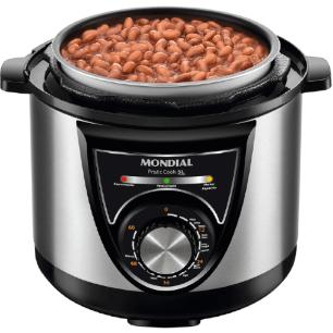 Panela Elétrica de Pressão Mondial Pratic Cook PE34 900W 127V 5L Inox Tampa com Alça