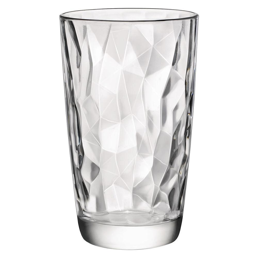 Copo Long Drink Vidro 470Ml Bormioli Rocco Diamond 14X9X9Cm 6 Peças