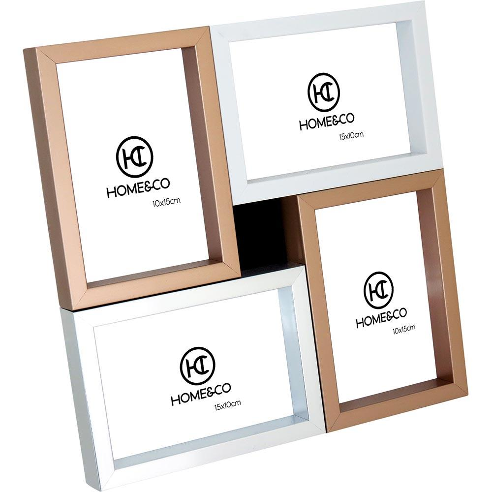 Porta-Retratos 4 Fotos Plástico Cobre Home&Co Magna 30X30X3Cm