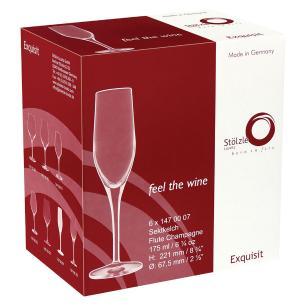 Taça Champagne Cristal Transparente 170Ml Stólzle Exquisit 22X7X7Cm 6 Peças