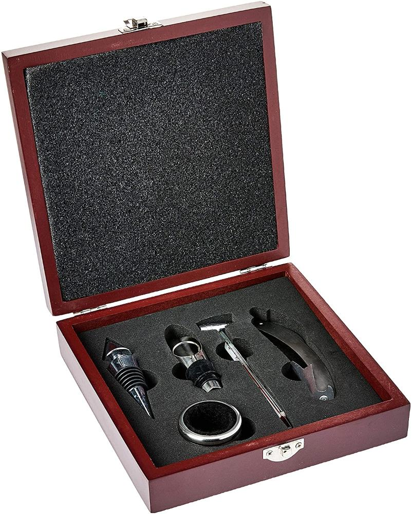 Kit de Acessórios para Vinho Adongo Inox e Metal 5 Peças em Caixa com Fecho