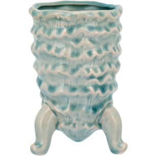 Vaso Com Pé Cerâmica Azul Home&Co Fergie 13X9X9Cm