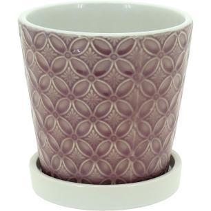 Cachepô Com Prato Cerâmica Rosa Bartira 15X15X15Cm