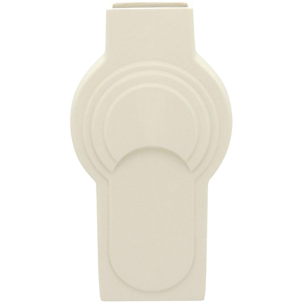Vaso 42X23X12Cm Cerâmica Branco Opala