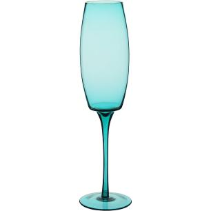 Taça Champanhe 6 peças Vidro Azul 230Ml Helga 25X7X7Cm