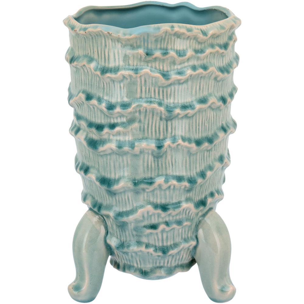 Vaso Com Pé Cerâmica Azul Home&Co Fergie 28X17X17Cm