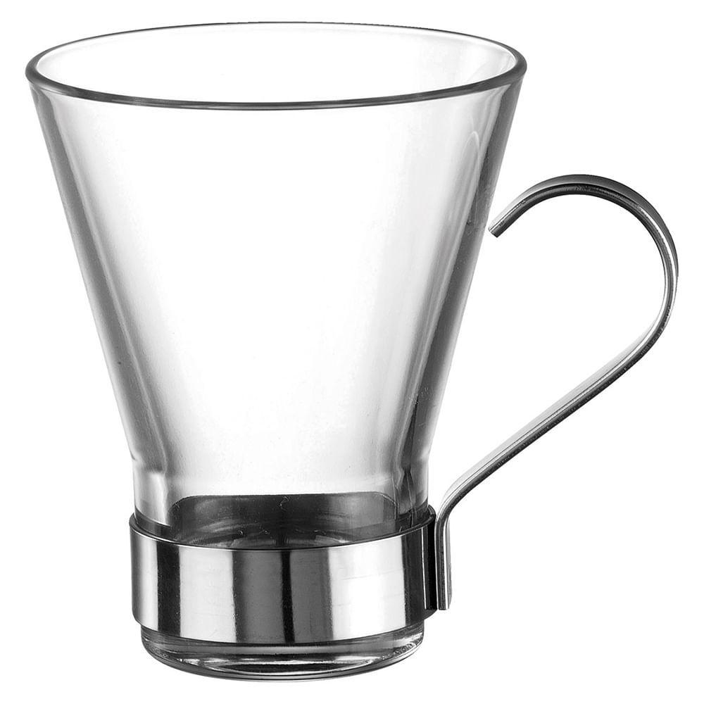 Xícara Cappuccino Vidro 220Ml Bormioli Rocco Ypsilon 10X8X8Cm 6 Peças
