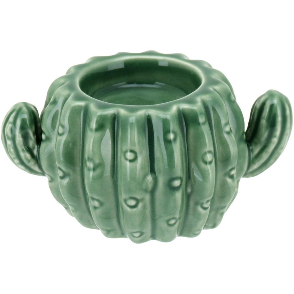 Castiçal Cerâmica Verde Cactus 6X12X8Cm