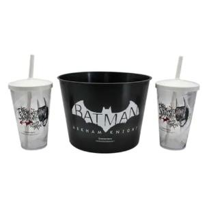 Kit Almofada Pipoca Batman Arkham Origins Preto e Branco 2 copos 1 Balde