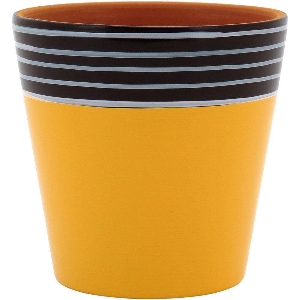 Vaso Amarelo Poterie Terracota 8X8X8Cm