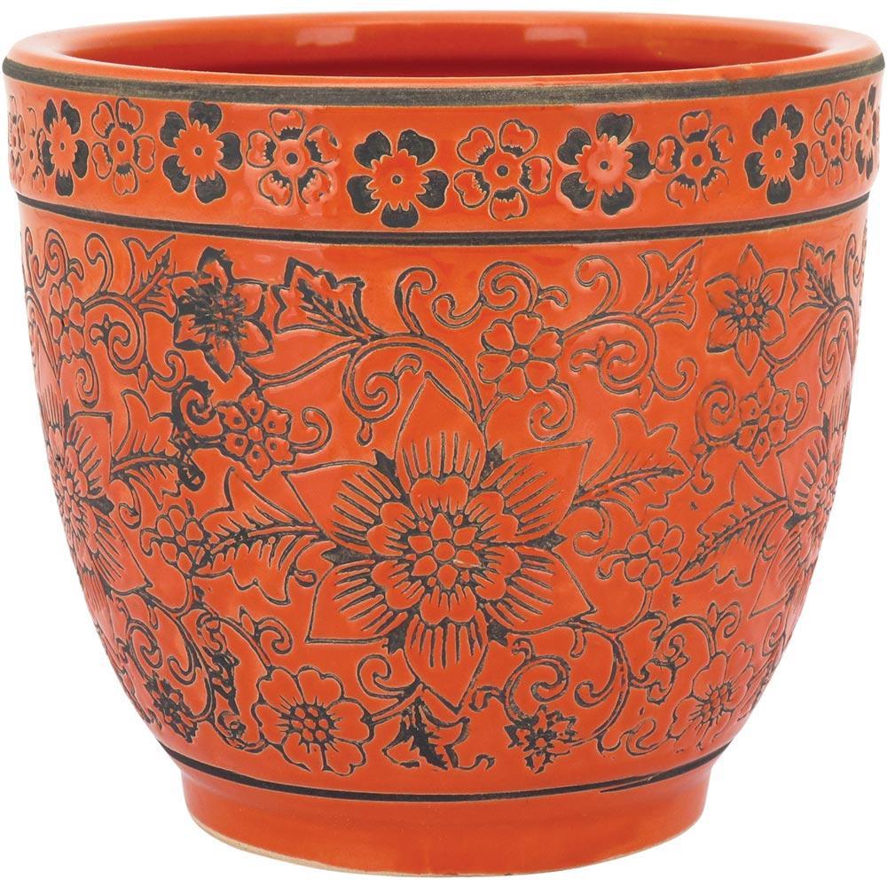 Cachepô Cerâmica Laranja Sagres 16X17X17Cm