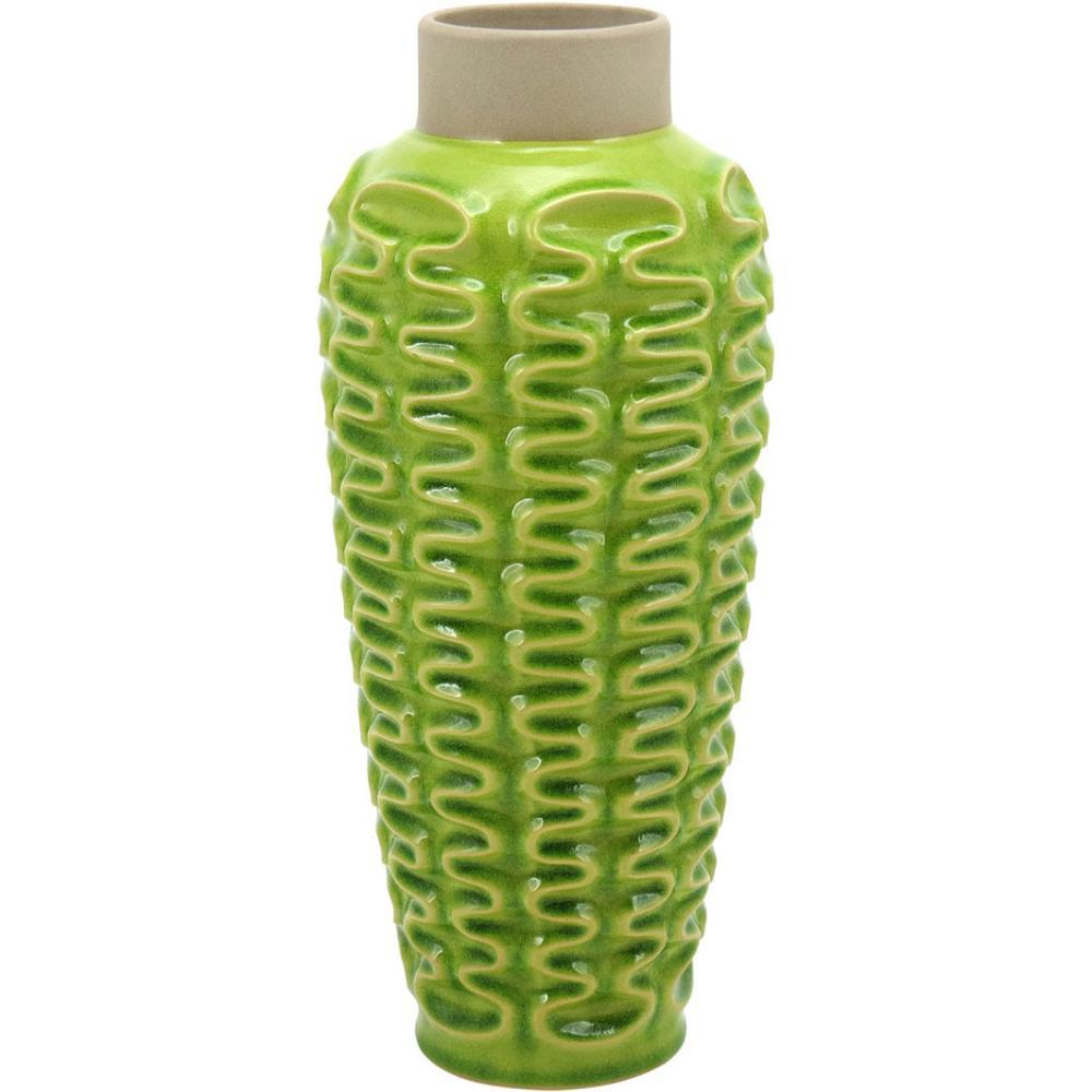 Vaso Cerâmica Verde Mangga 39X17X17Cm