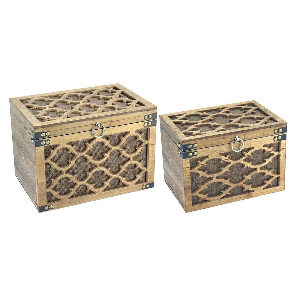 Caixa Organizadora Baú 2 peças Mdf Natural Caprice 25X35X24Cm