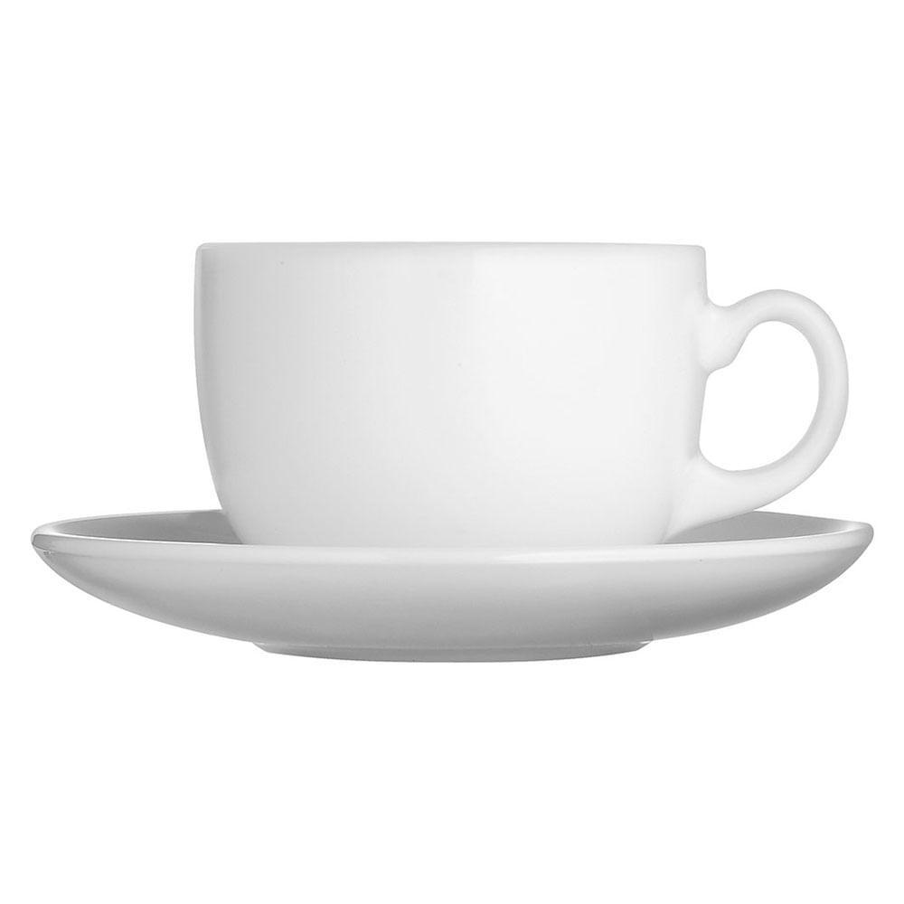 Xícara Chá Vidro Temperado Branco 220Ml Luminarc Essence 6X8X8Cm 6 Peças c/ Pires