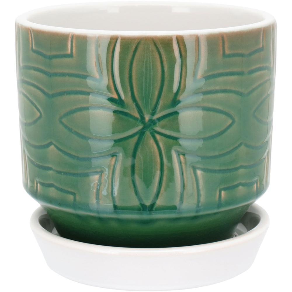 Cachepô Com Prato Cerâmica Verde Veneranda 15X15X15Cm