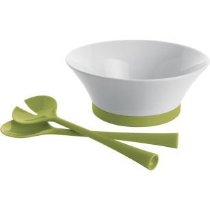 Saladeira Com Colher 3 peças Porcelana Verde 2L Serving 10X25X25Cm