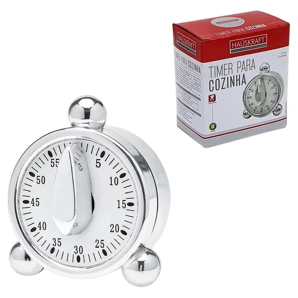 Timer para Cozinha Hauskraft Relógio Timer-001 Prata 60 Minutos Regressivo