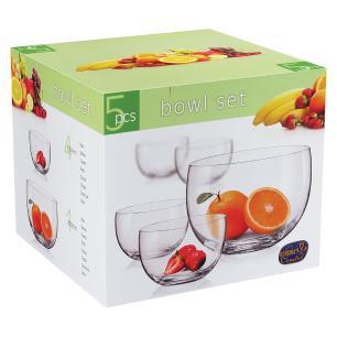 Jogo Saladeiras 5 peças Cristal Transparente 2,5L/350Ml Bohemia Bowl