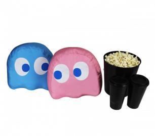 Almofadas Porta-Pipoca Fantasma Pac-Man 2 em 1 Azul e Rosa