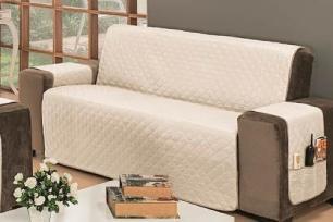 Protetor Impermeável Para Sofá De 03 Lugares Com Assento de 1,50M Dupla Face Manu - Cáqui Com Palha