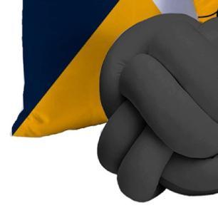 Almofada Nó Escandinavo + 02 Almofadas Microfibra 45cm x 45cm Coleção Gratidão - Cinza
