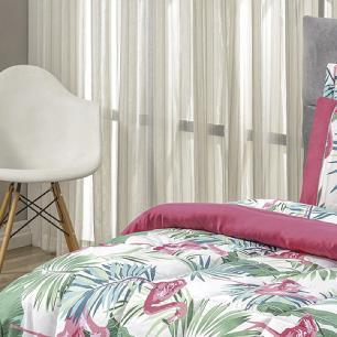 Kit Edredom Dupla Face Estampado Casal King 03 Peças Micropercal 200 Fios Naturale - Flamingo